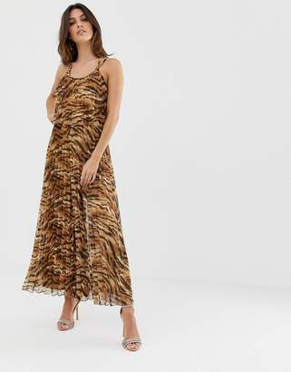 Asos Design DESIGN pleated crop top jumpsuit in animal print