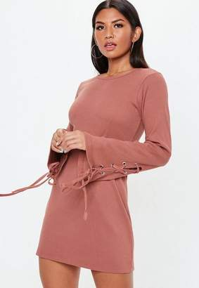 Missguided Pink Lace Up Sleeve Ribbed Skater Dress