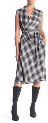 Vince Shadow Plaid Wrap Dress