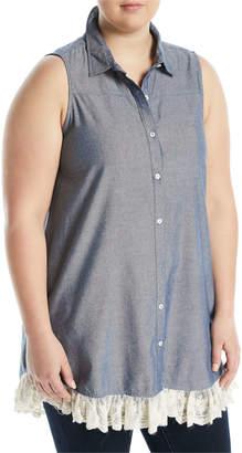 Kerrick Sleeveless Lace-Hem Chambray Tunic, Plus Size