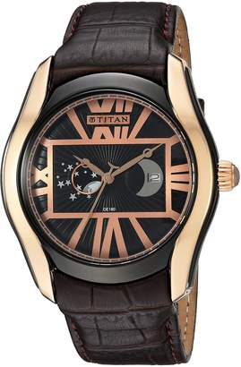 Titan Men's 'Celestial Time Moon Phase' Quartz Stainless Steel and Leather Watch, Color:Brown (Model: 1665KL02)
