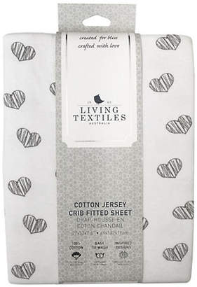 Living Textiles THE Baby's Sketched Heart Cotton Crib Fitted Sheet