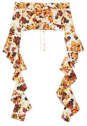 Ellery High Noon Off-The-Shoulder Ruffled Floral-Print Crepe Top