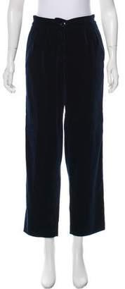 Vanessa Seward Velvet Mid-Rise Straight-Leg Pants