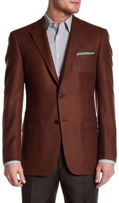 Hart Schaffner Marx Rust Woven Two Button Notch Lapel Wool Sport Coat $595 thestylecure.com