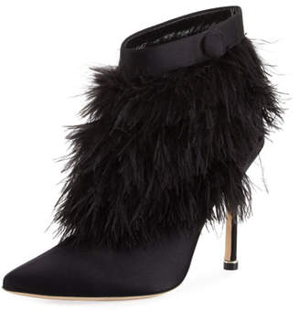 Manolo Blahnik Oterala Satin & Feather Booties