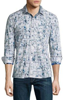 Robert Graham Diamond-Pattern Long-Sleeve Sport Shirt, White $228 thestylecure.com