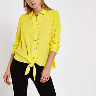 River Island Lime tie front long sleeve shirt