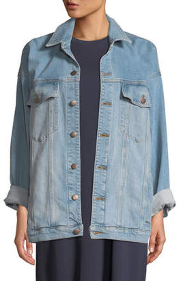 Eileen Fisher Oversized Long Denim Jacket, Plus Size