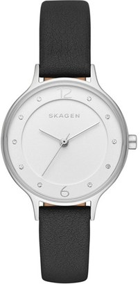 Women's Skagen 'Anita' Leather Strap Watch, 30Mm $115 thestylecure.com