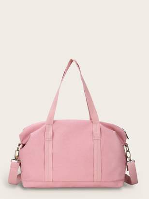 Shein Canvas Duffle Bag With Adjustable Strap