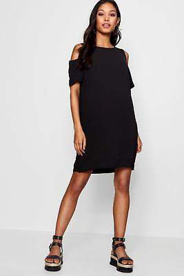 boohoo NEW Womens Cold Shoulder Textured Shift Dress in Polyester