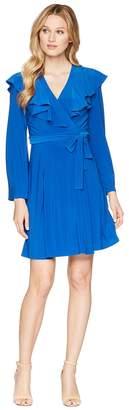 Taylor Bell Sleeve Ruffle Neck Wrap Tie Dress Women's Dress