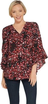 Belle By Kim Gravel Belle by Kim Gravel V-Neck Floral Flutter Sleeve Blouse