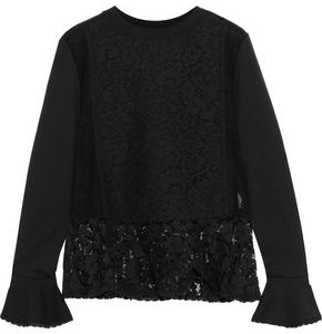 See by Chloe Lace-Paneled Cotton-Blend Jersey Peplum Top
