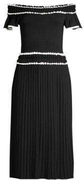Shoshanna Meridian Pleated Midi Dress