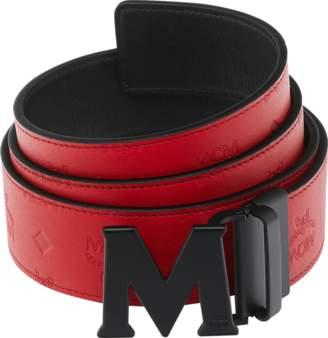 "MCM Claus Black M Reversible Belt 1.75"" In Monogram Leather"