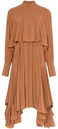 Chloé high neck pleated midi-dress
