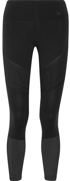 Nike - Power Legendary Mesh-paneled Dri-fit Stretch Leggings - Black