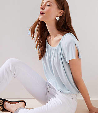LOFT Petite Shirred Split Sleeve Top
