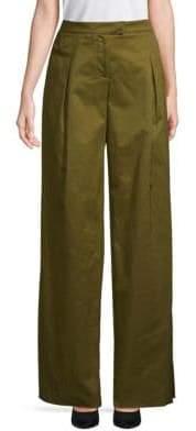 Valentino Wide-Leg Cropped Cotton Pants