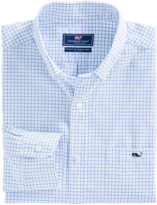 Vineyard Vines Navy Beach Check Classic Tucker Shirt