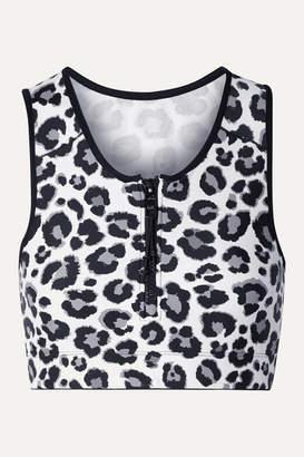 Adam Selman Leopard-print Stretch Top - Gray