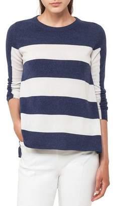 Akris Punto Crewneck Long-Sleeve Striped Wool-Cashmere Knit Sweater