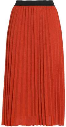 Maje Pleated Metallic Ribbed-Knit Midi Skirt