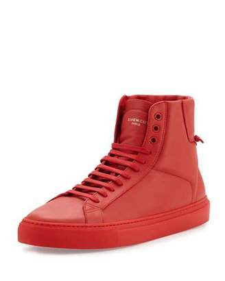 Givenchy Leather High-Top Sneaker, Red $550 thestylecure.com
