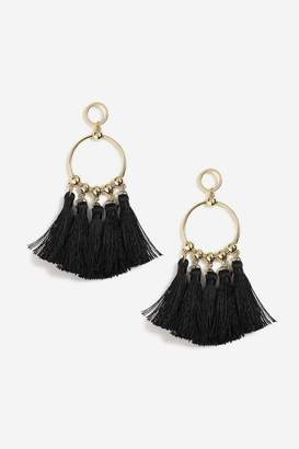 Topshop Engraved Disc and Tassel Drop