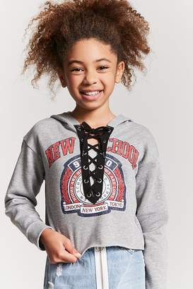 Forever 21 Girls Lace-Up Graphic Hoodie (Kids)