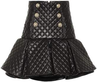 Balmain Quilted leather miniskirt