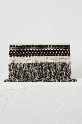 French Connenction Kala Woven Fringed Clutch