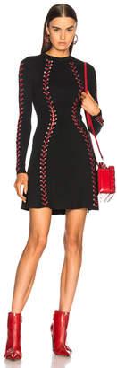 Alexander McQueen Silver Eyelet Engineered Rib Mini Dress