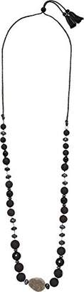 Chan Luu Women's Sterling Silver Adjustable Necklace with Single Agate and Semi Precious Stones