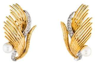Cherny 18K Pearl & Diamond Feather Clip-On Earrings