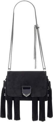Jimmy Choo LOCKETT MINI Black Suede Shoulder Bag with Tassels