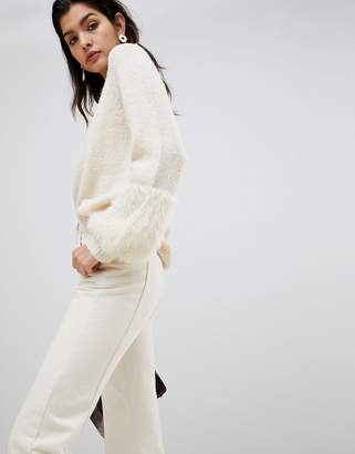 Vila Faux Fur Cuff Sweater
