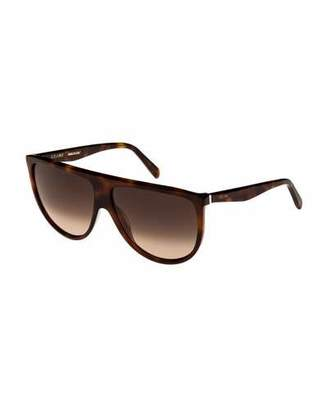 Celine Flattop Gradient Shield Sunglasses, Light Brown