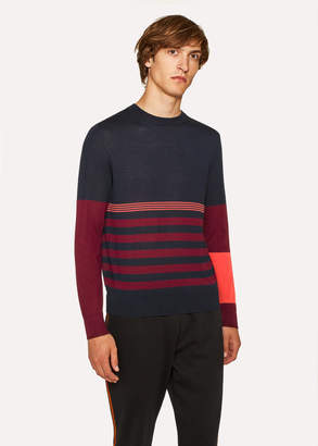 Paul Smith Men's Dark Navy Block Stripe Wool And Silk-Blend Sweater