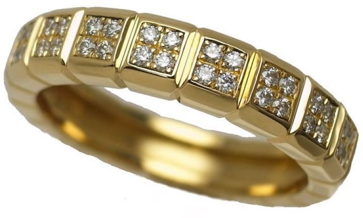 ChopardChopard 750 Yellow Gold Ice Cube Diamond Ring Size 7
