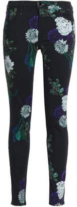 J Brand Floral-Print Mid-Rise Skinny Jeans