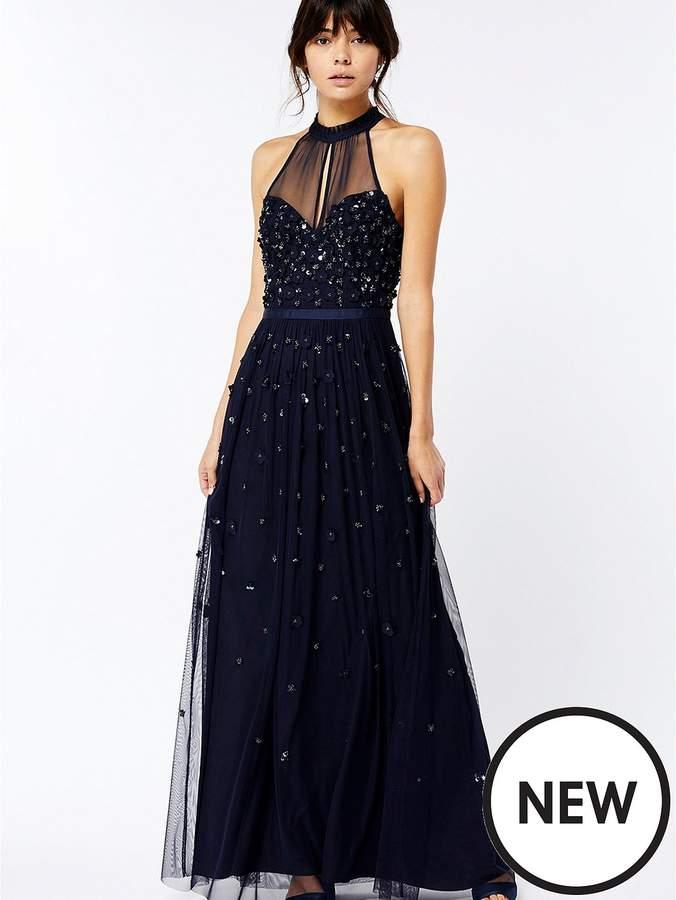 Alexa Embellished Maxi Dress – Navy