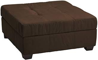 Epic Furnishings Leather Look Upholstered Tufted Padded Hinged Square Storage Ottoman Bench