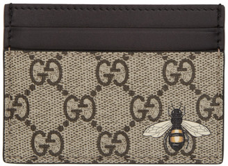 Gucci Beige GG Supreme Bee Card Holder