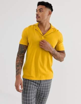 Asos Design DESIGN knitted revere polo t-shirt in mustard
