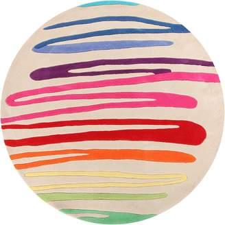 Bright Kids Paint Stroke Kids Round Rug, White 120x120cm