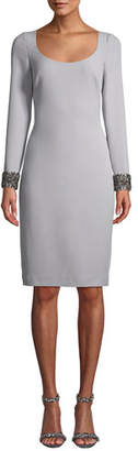Badgley Mischka Scoop-Neck Dress w/ Beaded Cuffs
