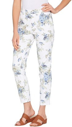 Denim & Co. Studio by Floral Print Stretch Twill Ankle Pants